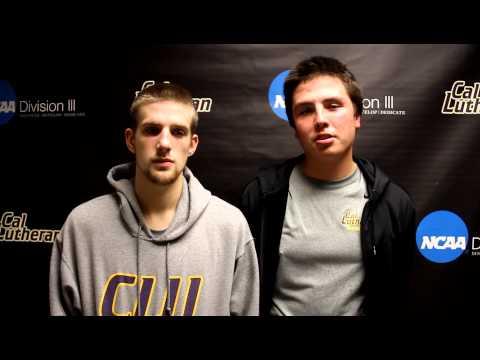 Collin Knudsen and Corey Quintana CLU-Occidental Post Game Jan. 5, 2013