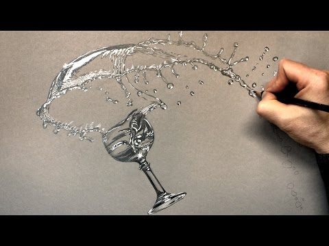 How I draw a Glass and Splashing Water with Pencil - Time Lapse Drawing