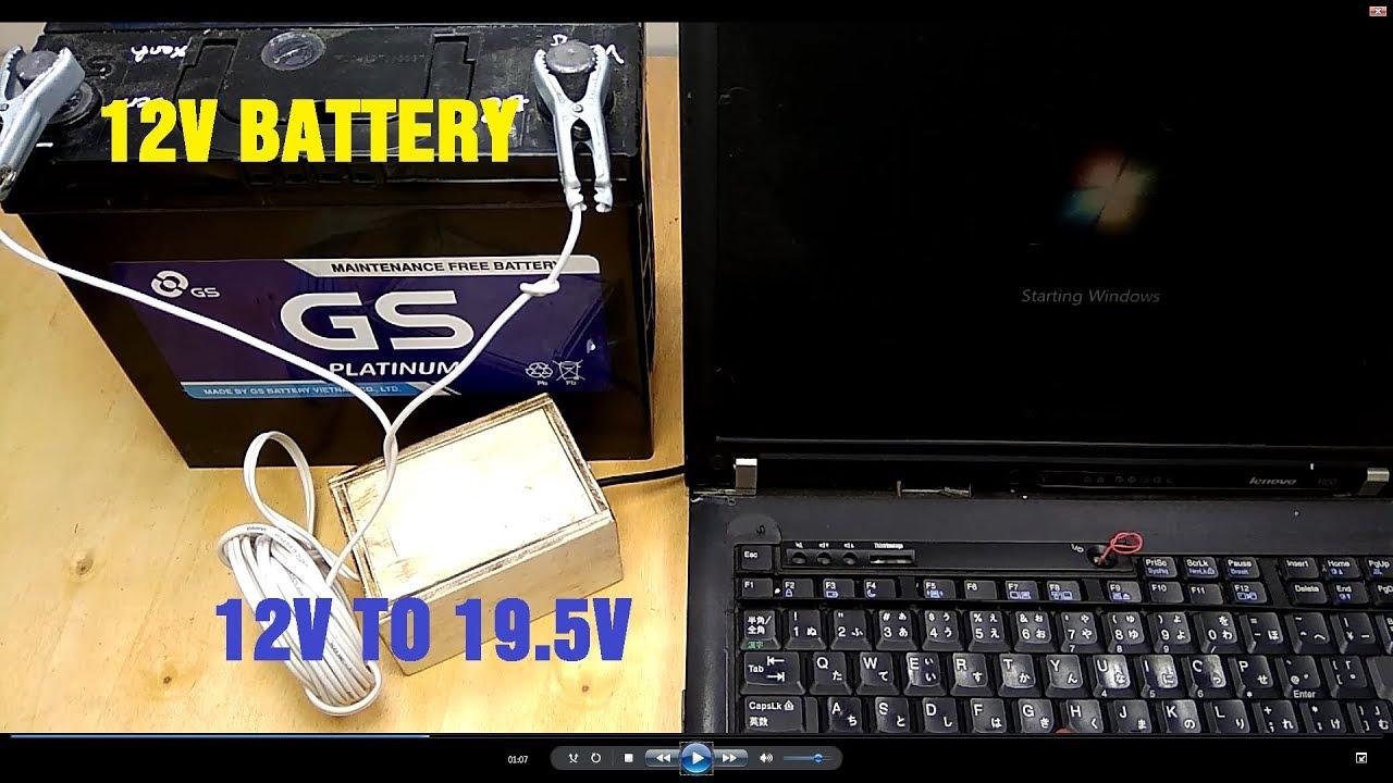 running laptop with 12v battery external power supplies 12v to 19 5v inverter circuit [ 1280 x 720 Pixel ]