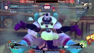 Mic test Final USF4 Hikaru (Juri - Bunny Ears) vs KaiPow (Zangief - Big Band) 8-14-14