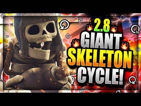 INSANE 2.8 SUPER FAST CYCLE GIANT SKELETON DECK!! DESTROY EVERYTHING!! Clash Royale Giant Skeleton