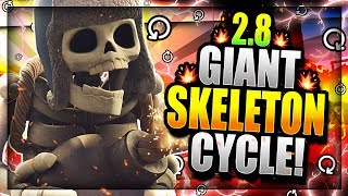 INSANE 2.8 SUPER FAST CYCLE GIANT SKELETON DECK!! DESTROY EVERYTHING!! Clash Royale Giant Skeleton