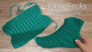 Легкие носки на двух спицах | Easy Socks Two Needle Knitting Pattern