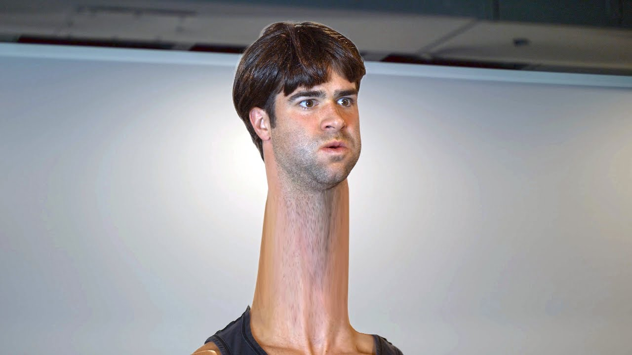 Man with the Longest Neck in the World Works Out - YouTube