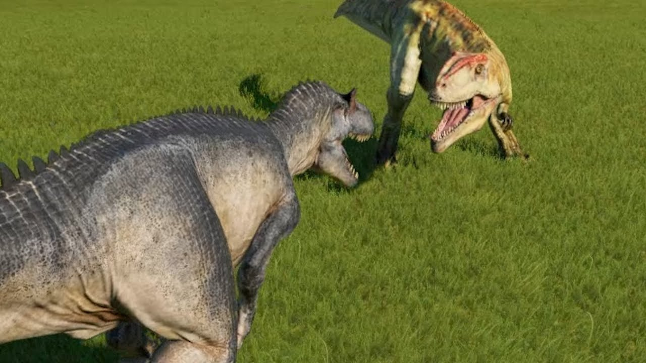 Allosaurus VS Giganotosaurus Jurassic World Evolution