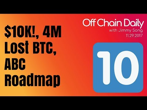 Bitcoin $10k, 4M Lost BTC? Grin/MW, ABC roadmap - Off Chain Daily 2017.11.29