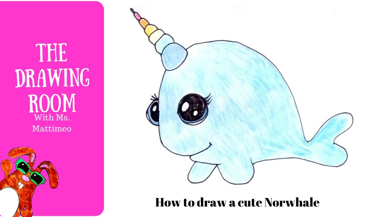 how to draw a cute narwhal how to draw a unicorn whale