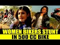 GIRLS PERFORM STUNTS ON 500CC BULLET BIKES
