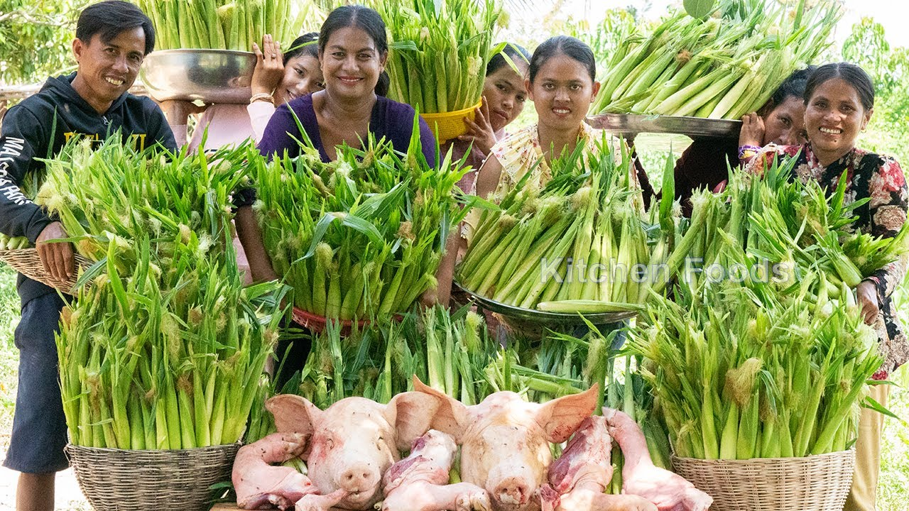 Cooking 237 Kg Baby Corns with PIG Head and PIG Leg Recipe - Donation Caramelize Foods in Village