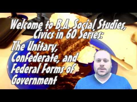 The Unitary, Confederate, and Federal Forms of Government--B.A. Social Studies, Civics in 60
