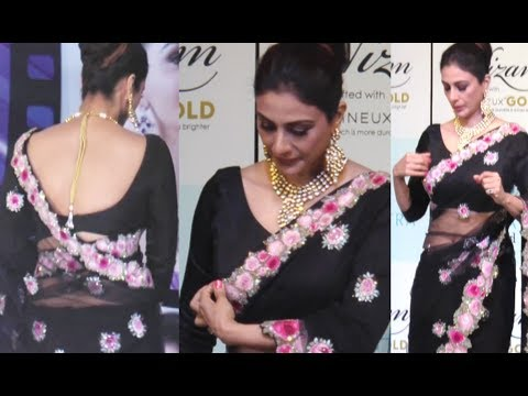 Tabu HOT In Black Saree At Jewellery Launch Event