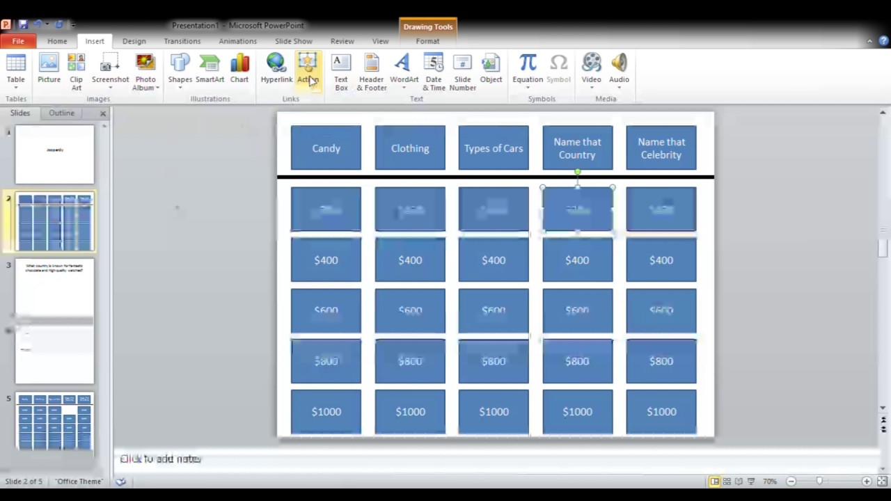 "how to build ""jeopardy"" on powerpoint - youtube, Powerpoint templates"