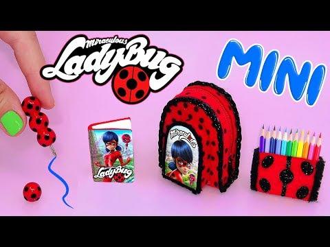 DIY: Miniature MIRACULOUS LADYBUG School Supplies ( Backpack, Notebook, etc) REALLY WORKS