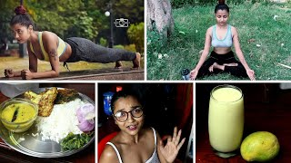 VLOG - FULL DAY OF EATING INDIA - SUMMER DIET FOR WEIGHT LOSS - COOKING   20 MIN FAT BURN WORKOUT