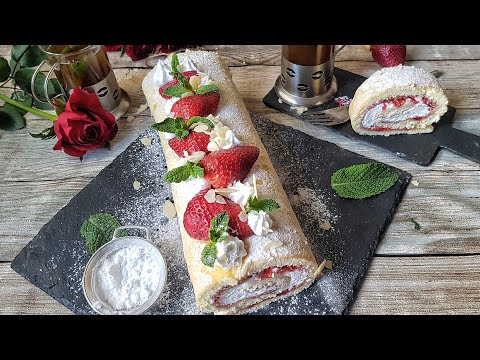 gâteau-roulé-a-la-fraise