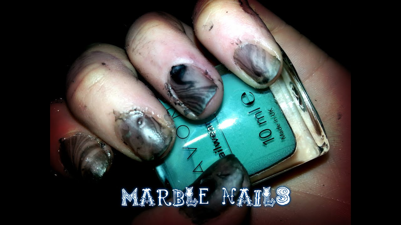 Black and Clear Matte Marble Nails - YouTube