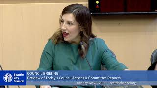 Seattle City Council Briefing 5 6 2019