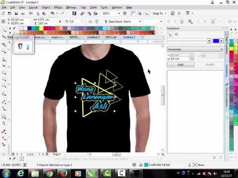 desain kaos dengan corel x 7 - YouTube