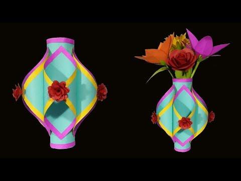 Making Paper Flower Vase | How to Make A Flower Vase At Home | Simple Paper Craft DIY Paper Vase