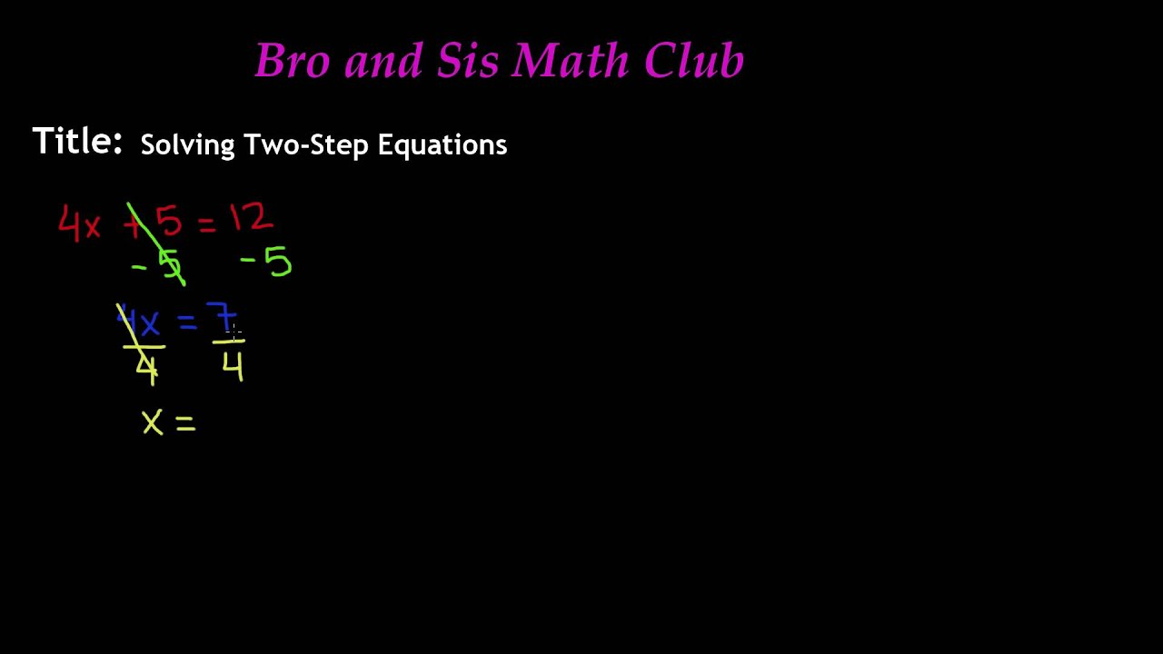 7th Grade Math Solving Two Step Equations YouTube – Math Worksheets Two Step Equations