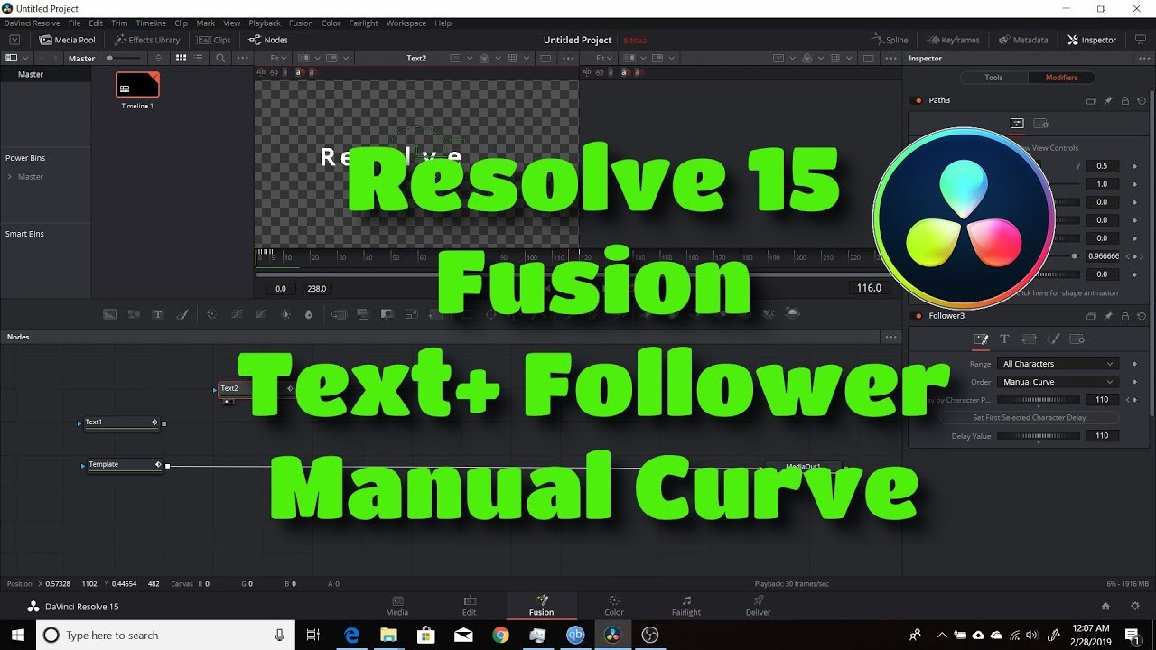 Resolve 15 Fusion Text Follower Manual Curve Youtube