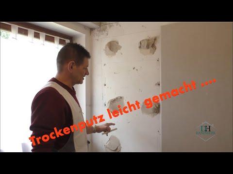Trockenbau/Trockenputz / Rigips an eine Wand kleben/ dry cleaning  von HS-Hobein