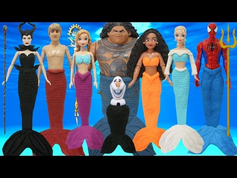 Thumbnail: Play Doh Mermaids Spiderman Moana Maui Elsa Anna Frozen Olaf Kristoff Disney Maleficent