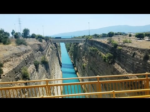 Crossing the bridge at Corinth Canal, Greece