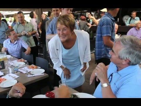 Parti Quebecois leader Pauline Marois campaigns by metro