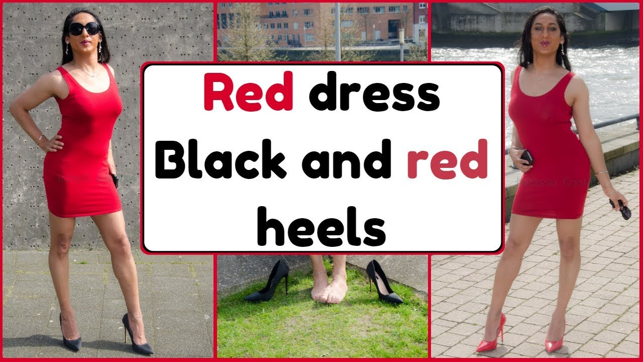 113cc0eda02 Red dress in both red and black stiletto high heels | NatCrys