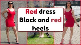 Red Dress In Both Red And Black Stiletto High Heels NatCrys