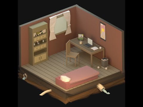 Blender 3d Wallpaper Lionstudios Isometric Low Poly Room Time Lapse Blender