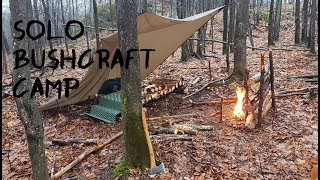 Solo Bushcraft Camp in the Rain -  Fire Cooking & Bed Building