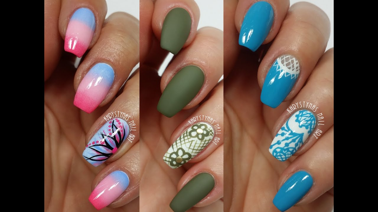 3 Easy Accent Nail Ideas! Freehand #2 (Khrystynas Nail Art) - YouTube
