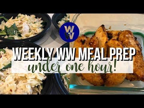 one-hour-weekly-ww-meal-prep-|-cold-chicken-pasta,-garlic-sriracha-chicken