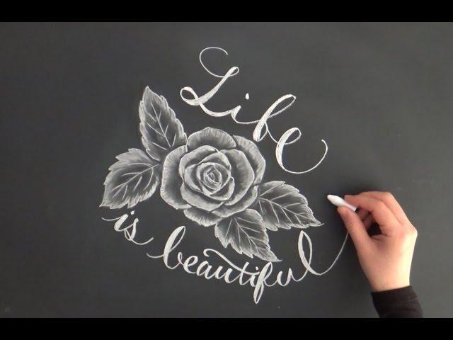 黒板アート チョークアートで描くバラとレタリング 大人黒板chalkart Youtube