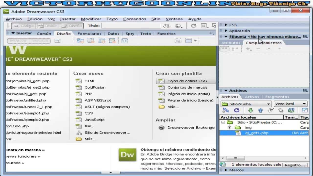 04 Enlaces y Envio de datos con Get en Dreamweaver - Básico ...