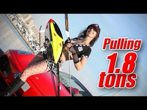 RC heli pulls 1.8 ton Ferrari - insane power demonstration record!
