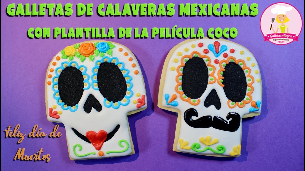 GALLETAS DE CALAVERAS MEXICANAS (PLANTILLA DE COCO)   DÍA DE MUERTOS   ROYAL ICING   GALLETAS ALEGRA