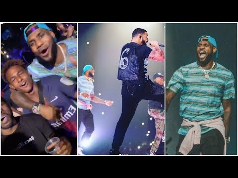 LeBron gets lit as he joins Drake & Travis Scott on stage at Staples Center