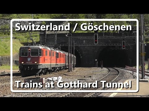 Trains in Göschenen, entrance Gotthard Tunnel // Swiss Train Compilation