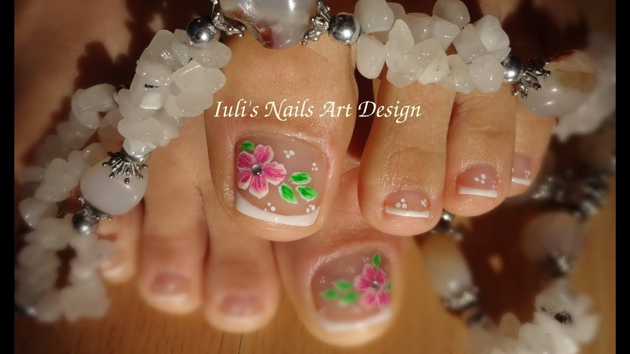 Toes art design French pedicure - Beautiful flower - Spring Summer ...