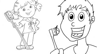 Get Your Kids to Brush Their Teeth - Drawing a Cartoon Toothbrush