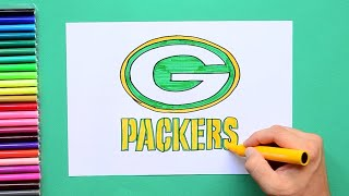 How to draw and color the Green Bay Packers logo - NFL team series