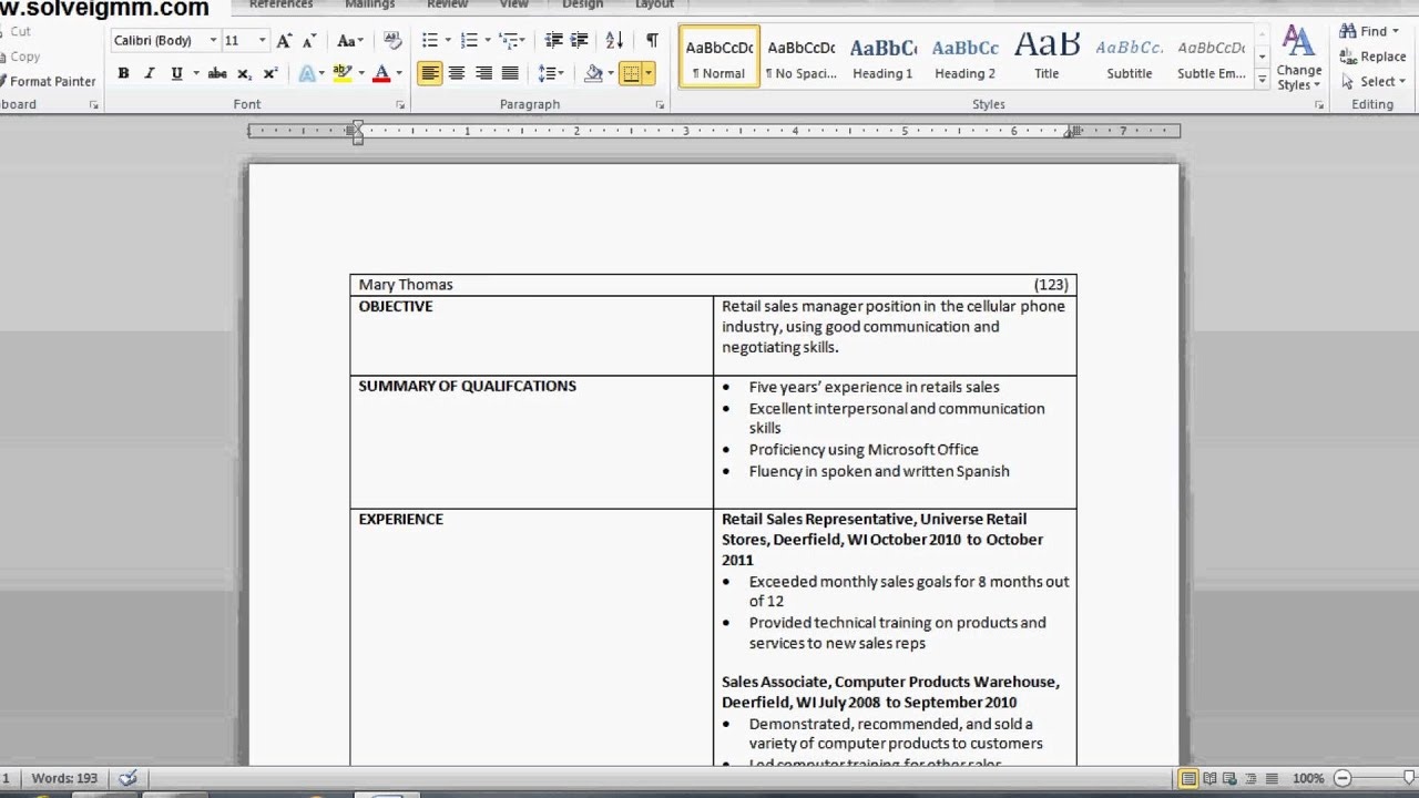 how to make a resume with a table   part 2  microsoft word