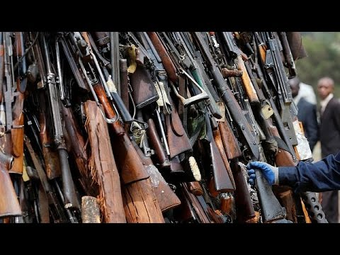 Cache of assorted arms seized in Ivory Coast's Bouake city as mutiny ends
