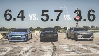 Dodge Charger 3.6 vs. 5.7 vs. 6.4 Hemis! |SXT vs. RT 5.7 vs. SCATPACK|