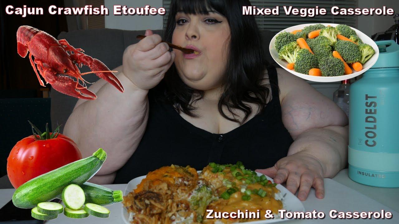Cajun Crawfish Etoufee Mukbang With Zucchini & Tomato Casserole and Mixed Veggie Casserole