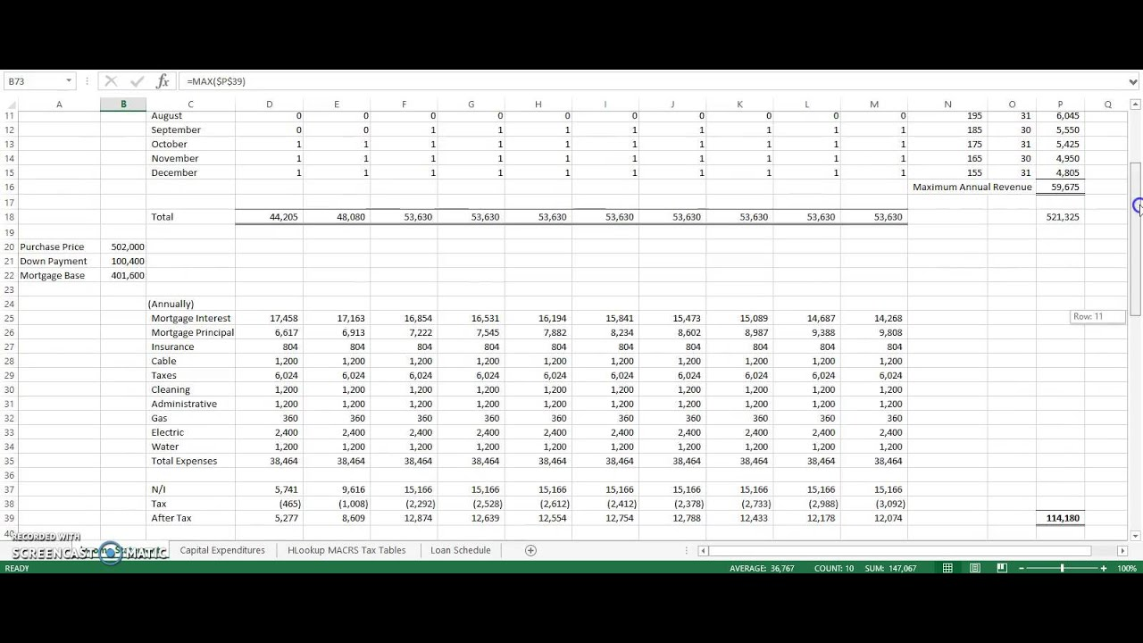 purchasing rental property income statement and solver