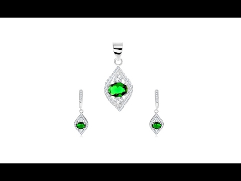 Jewelry - 925 silver set - pendant and earrings, pointed grain, green oval-zircon
